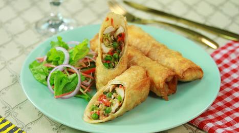 Chicken Vegetable Spring Rolls Urdu English