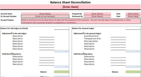 Ledger Reconciliation Excel Template