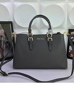 Replica Miu Miu High-quality Calfskin Leather Shoulder Bag Deep Grey  MU06870-04 - Voguekingbags.cn f2ed03d5f231b