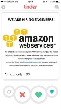Amazon recrute les ingénieurs sur Tinder | Marketing & advertising 2.0 | Scoop.it