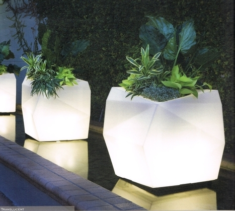 Origami translucent lighted planters by Cresc