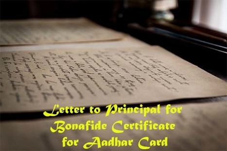 Letter to principal for bonafide certificate fo letter to principal for bonafide certificate for aadhar card yadclub Images