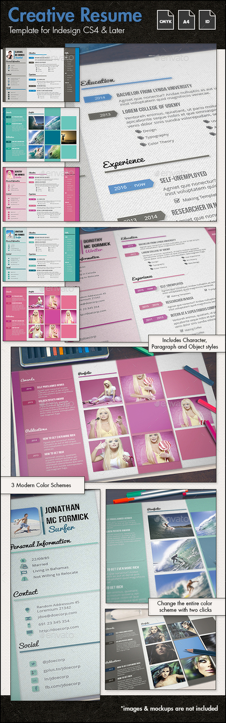 Creative Resume and CV Template g1 - A4 Landscape | About Design | Scoop.it