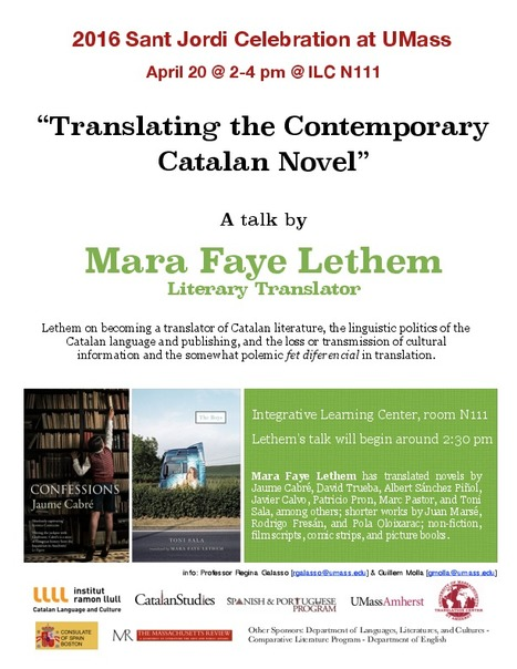 """Translating the Contemporary Catalan Novel."" A talk by Mara Faye Lethem at U Mass on April 20th  