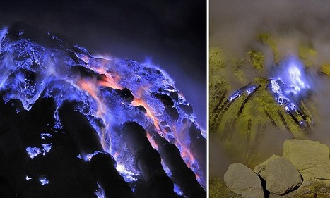 Blue is the warmest colour: Indonesian volcano spews molten sulphur heated to more than 220F which gives off eerie flames | Travel News Travel Tips | Scoop.it
