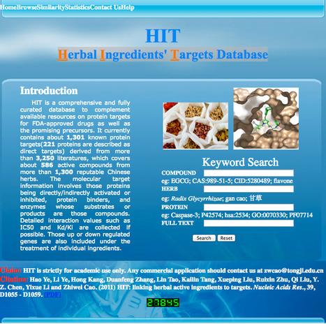 HIT - aHerbal Ingredients' Targets Database | bioinformatics-databases | Scoop.it