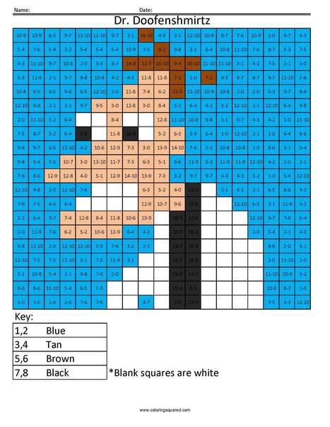 Cartoon- Addition and Subtraction - Coloring Sq...