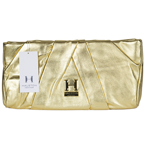 Get Halston Heritage Alice Oversized Pleated Leather Clutch for Women with  Designer Bungalow 8cb3e5530f4d9