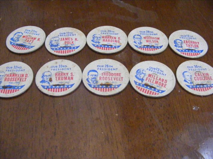 10 old president Milk caps | Antiques & Vintage Collectibles | Scoop.it