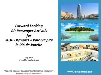 Forwardkeys - 2016 Olympics & Paralympics Air PAX Arrivals | Travel Retail | Scoop.it