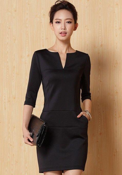 a376c8715568a Black Plain Half Sleeve Mini Dress | contact ph...