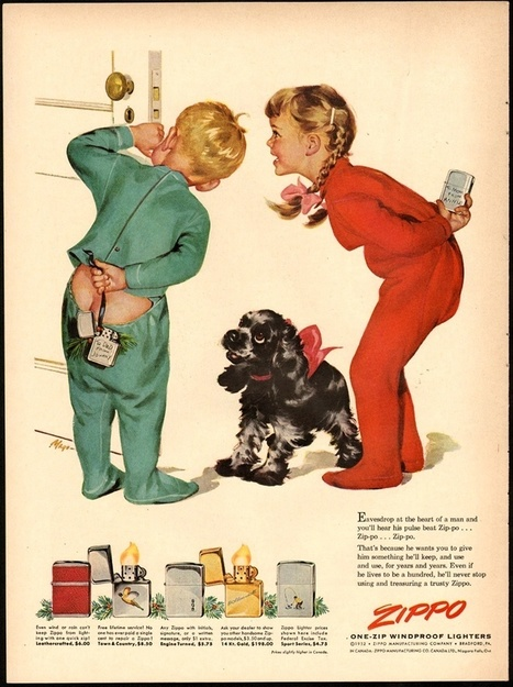 Zippo ad-1952 --kids hide them behind their backs as surprise gifts for mom & dad   Advertising culture   Scoop.it