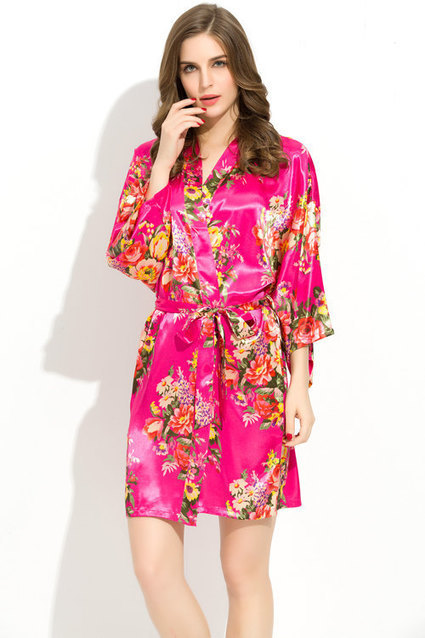 a765f53f2a FUSHCIA Floral Satin Robe Bridesmaid Bride Robes Kimono