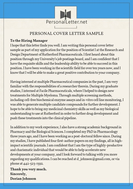 personal cover letter sample personal letters samples scoopit