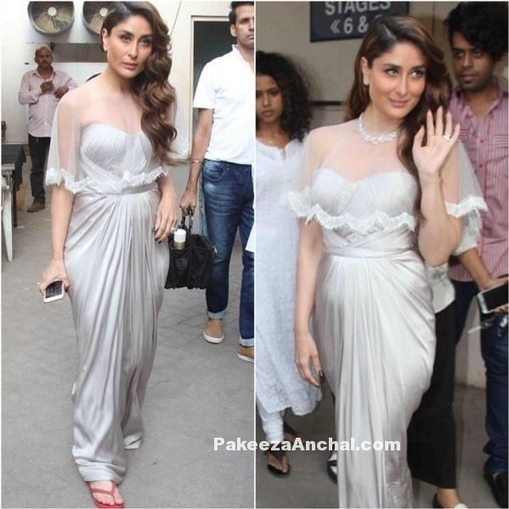 56d8b92b47f Kareena Kapoor in silver strapless gown with a ...
