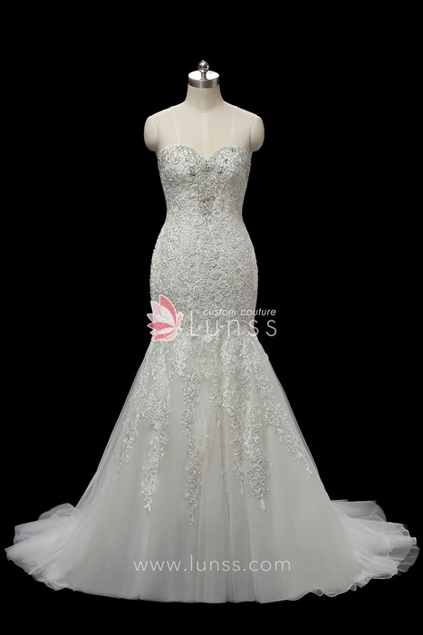 f0664615dcdf Unique Ivory Sparkling Beaded Lace Tulle Sweetheart Strapless Trumpet  Wedding Dress - Lunss Couture