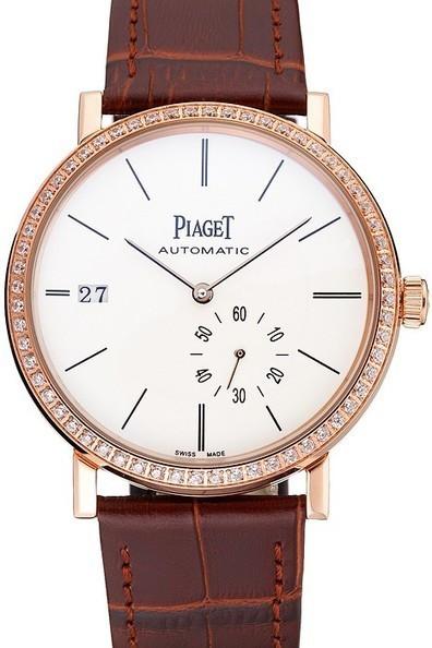 7c4fc769995 Replica Piaget Altiplano Diamond Gold Case White Dial Brown Leather  Bracelet- 245.00