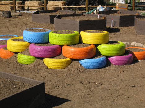 Colorful Use of Tires in a Garden | School Gardening Resources | Scoop.it