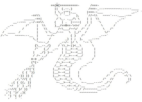 Beliebt Diganta's World: ASCII Art Dragon Rider | ASCII PZ86