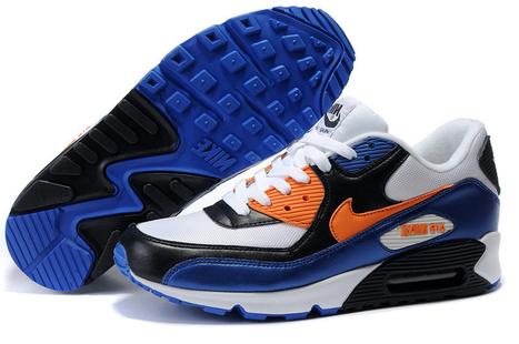 new style 9b711 8f1e9 2015 Nike Air Max 90 Mens White Black Royalblue Orange Running Shoe Online  -  54.84