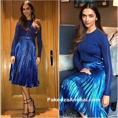 Deepika Padukone in Metallic Blue Skirt by Christopher Kane, #ActressInBlueDresses, #ActressInSkirts, #BollywoodActress, #BollywoodDesignerDresses, #CelebrityDresses, #ChristopherKaneSkirt, #Deepik... | Indian Fashion Updates | Scoop.it