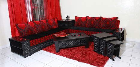 Salon marocain 2017 Noir et rouge design modern...