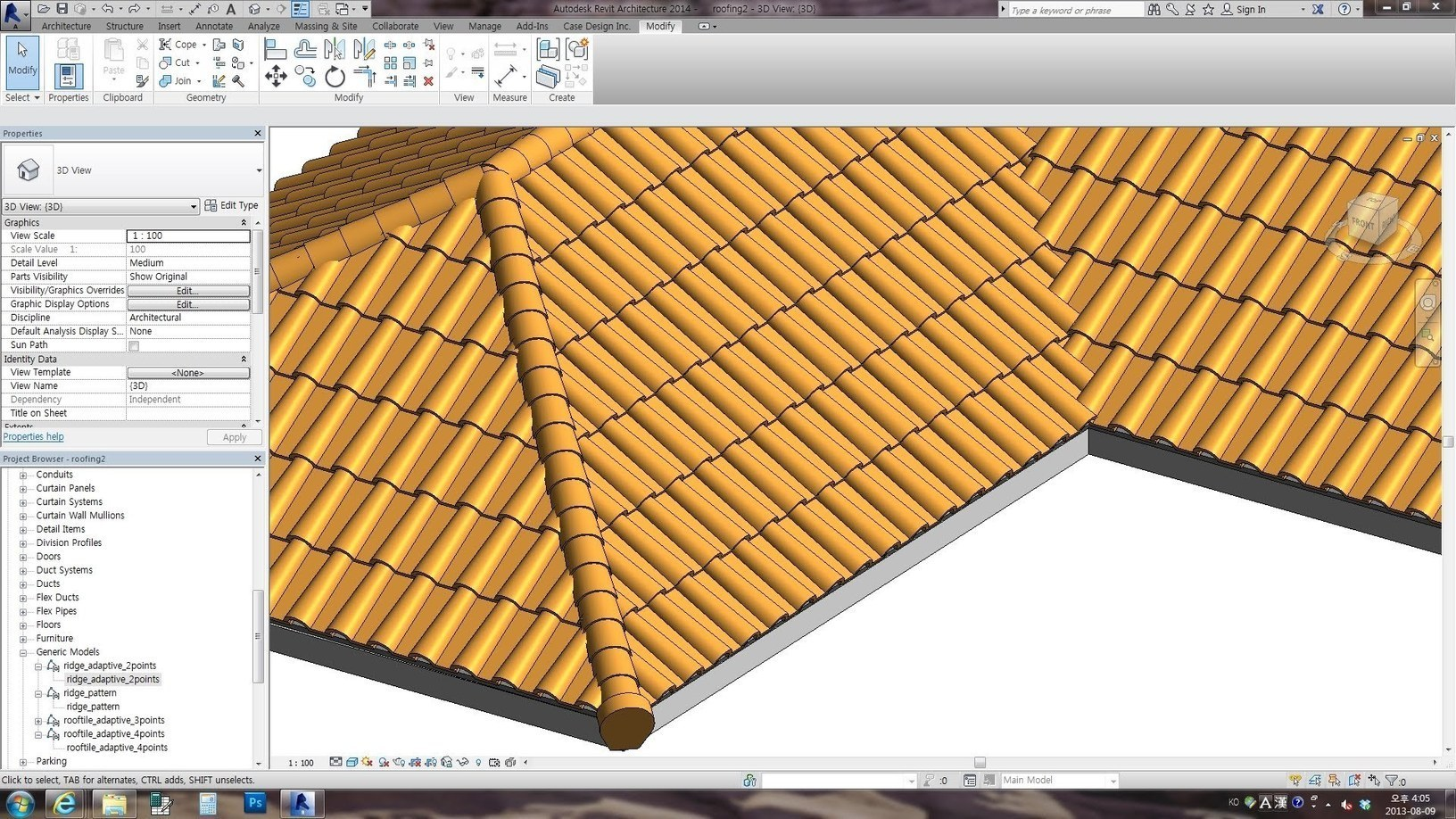Revit Family Spanish Roof Adaptive Videotutori
