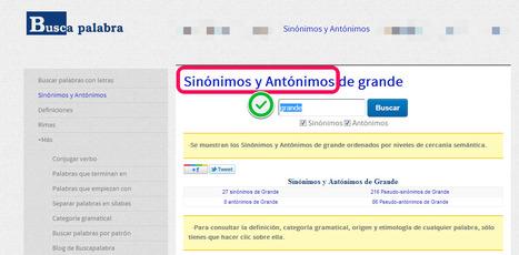 Buscador de antónimos y sinónimos #lengua #español #lenguaespañola #castellano #diccionarios   Pedalogica: educación y TIC   Scoop.it