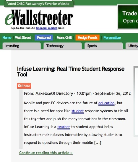 Infuse Learning: Real Time Student Response Tool - Cool Stuff - eWallstreeter   InfuseLearning   Scoop.it