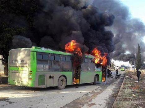 "Horror as ""rebels"" (?) torch evacuation buses 
