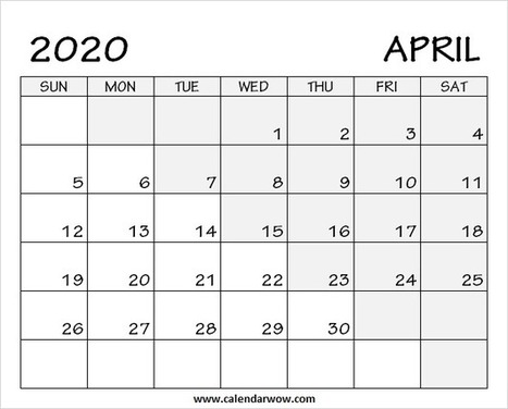 Apr 2020 Calendar Print Blank April 2020 Calendar with Notes
