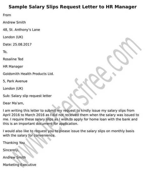 Sample Request Letter To HR Manager For Salary Slips  Personal Apology Letter