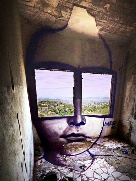 A Pair of #Window Shades Overlook Greece by '#Achilles' #art #streetart | Luby Art | Scoop.it