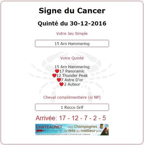 3 244.80€ pour le signe du Cancer au #Tiercé-#Quarté#Quinté+ du Vendredi 30/12/2016 à Vincennes. | Pariez avec ASTROQUINTE | Scoop.it
