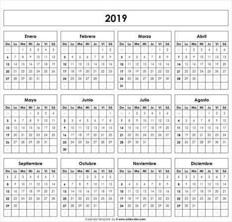 Calendario 2019 Para Imprimir Por Meses Feria