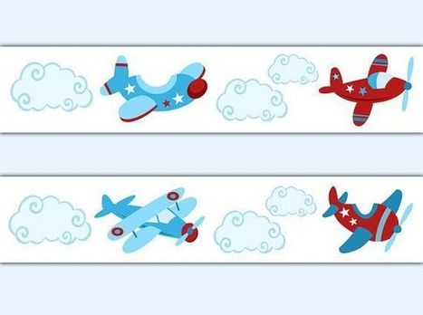 Airplane Wallpaper Border Wall Decals Baby Boy