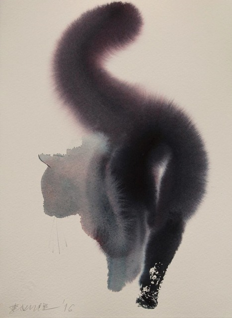 Dreamy New Ink Paintings of Ghostly Felines and Chickens by Endre Penovac...   Art for art's sake...   Scoop.it