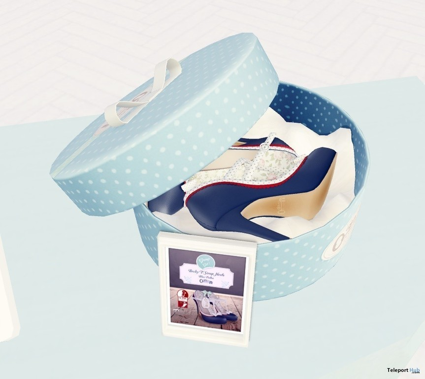 5fe4927890a Becky T-Strap Heels Blue Polka Group Gift by The Secret Store