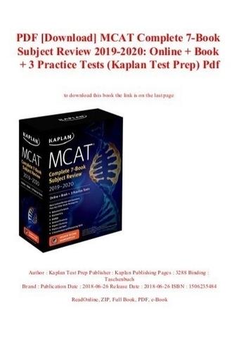 PDF [Download] MCAT Complete 7-Book Subject Rev