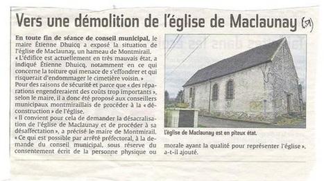 Marne Démolition annoncée de l'église de Maclaunay   L'observateur du patrimoine   Scoop.it