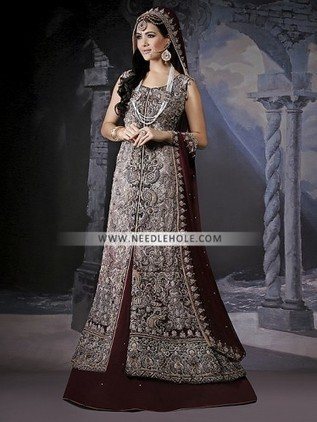 Designer Wedding Lehenga Dress For Brides In Maroon Color Sweet Heart Neck Fully Embellished Long Bridal Shirt With And Dupatta