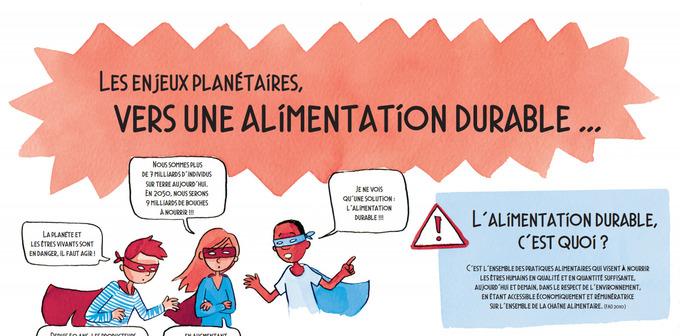 Un enjeu planétaire : l'alimentation durable, exposition de 4 panneaux - @ademe
