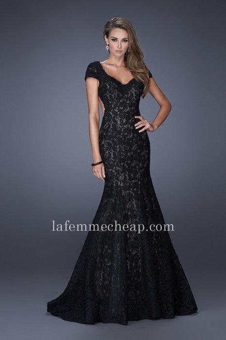 989dfb89299 Black Cutout Back La Femme 20117 Mermaid Lace Evening Dresses Cheap  La  Femme 20117  -  240.00   Buy La Femme