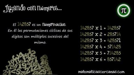 Jugando con números XX... El 142857, un número cíclico | Matemáticas curiosas. Curiosidades matemáticas. | Scoop.it