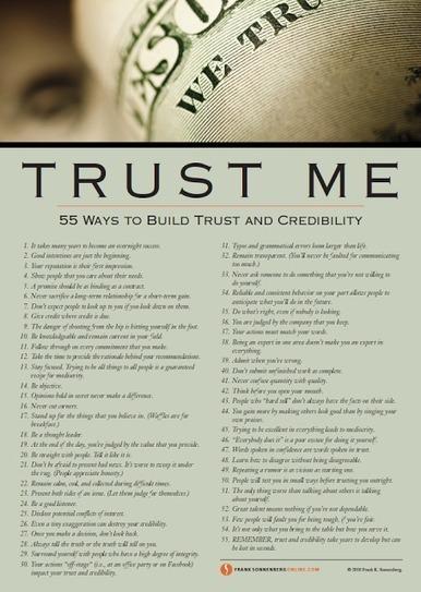 marketing personale: Trust Me: 55 modi per costruire fiducia e credibilità | A RUOTA LIBERA TRA RETI, INNOVAZIONE E STARTUP | Scoop.it