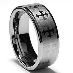 Jovivi Custom Band Rings Personalized Engraved Name Message 8MM Unisex Stainless Steel Wedding Band Rings in Comfort Fit Matte Finish