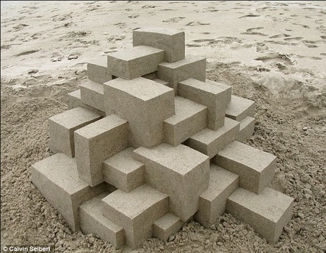 Bet he needs more than a bucket and spade! Incredible photographs show artist's amazing geometric sandcastles | What's new in Visual Communication? | Scoop.it