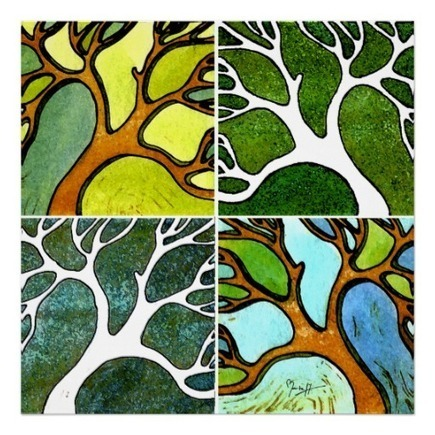 4 Hand Carved Trees in Watercolor and Pen & Ink Posters from Zazzle.com | Fashion to Delight You for Home and to Wear | Scoop.it