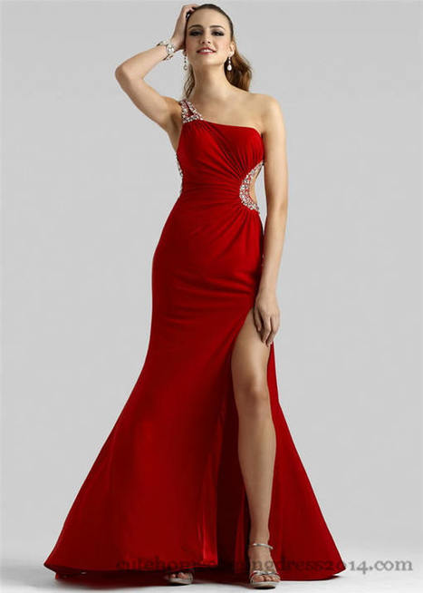 Beaded Side Cutout Red One-Shoulder Prom Gown [...