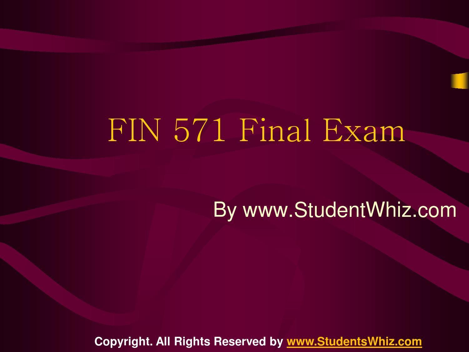fin 571 final exam answers